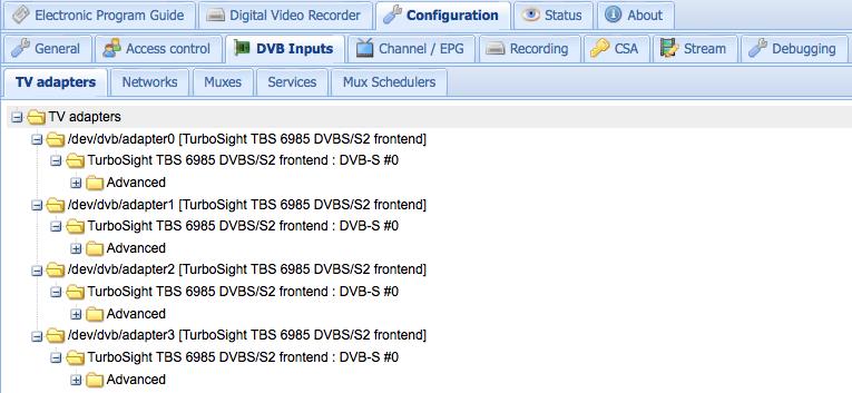 TVHeadEnd with TBS6985 installed