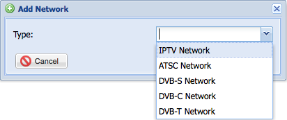 Select IPTV network from the dropdown