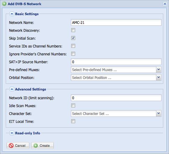 Add a DVB-S network